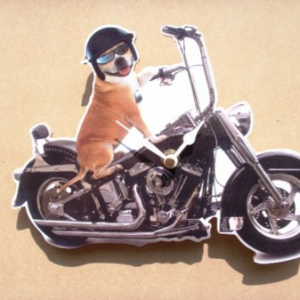 Biker Clock Cheeky Dog Rider