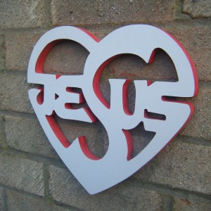 Jesus White With Red Love Heart