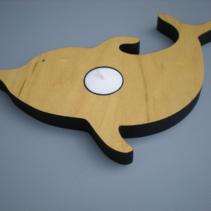 Dolphin Heart Candle Holder In Wood