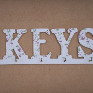 "Key Holder ""KEYS"" Floral Design Theme"