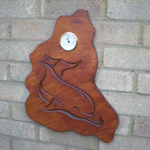 Dolphin Engraved Clock Design, In Wood