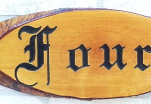 House Sign OLD ENGLISH Engraved- Number Four
