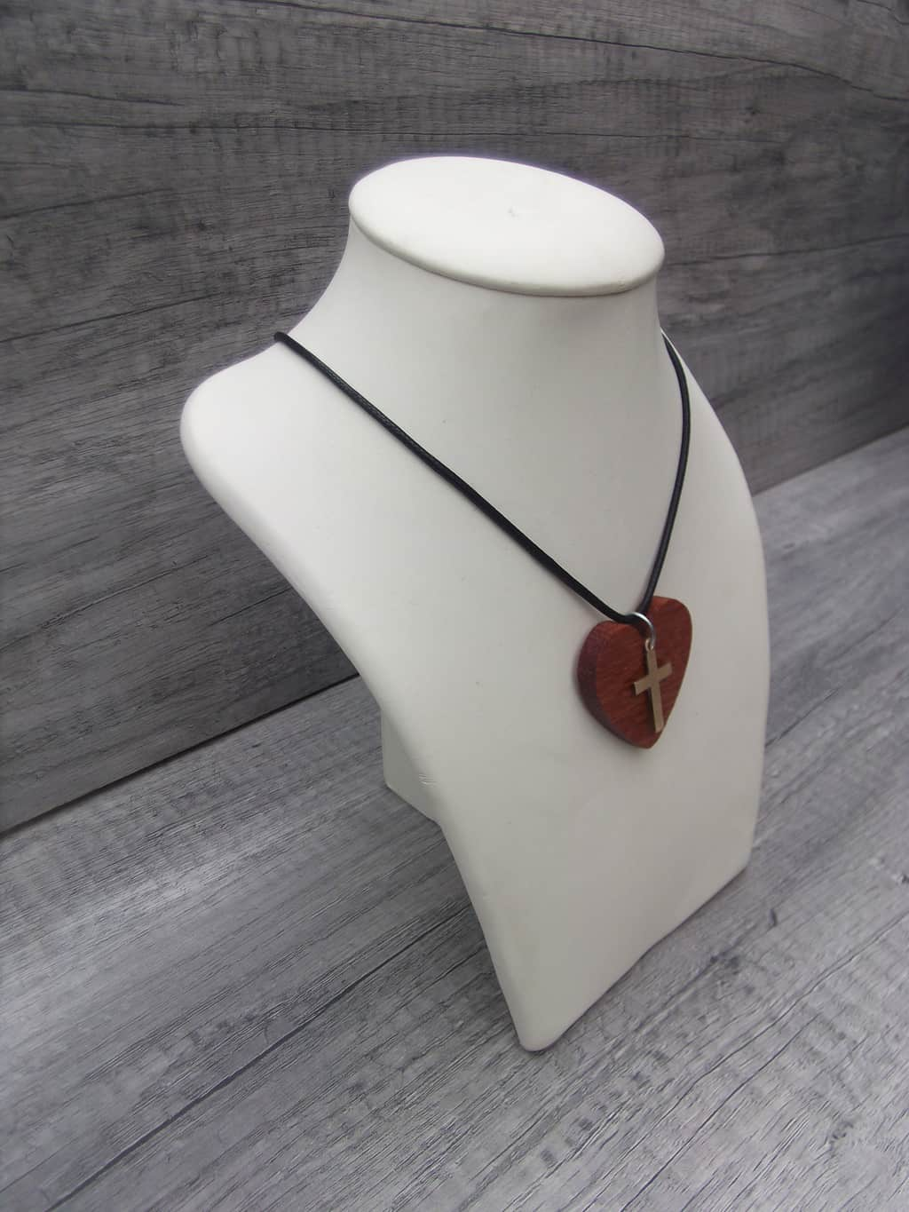 Pendant Hardwood Heart With Brass Cross