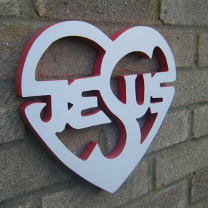 Jesus Wooden Heart