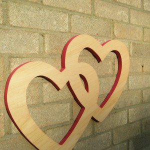 Double Joined Wooden Hearts