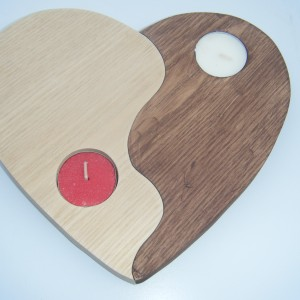 Wooden Heart Candle Yin & Yang